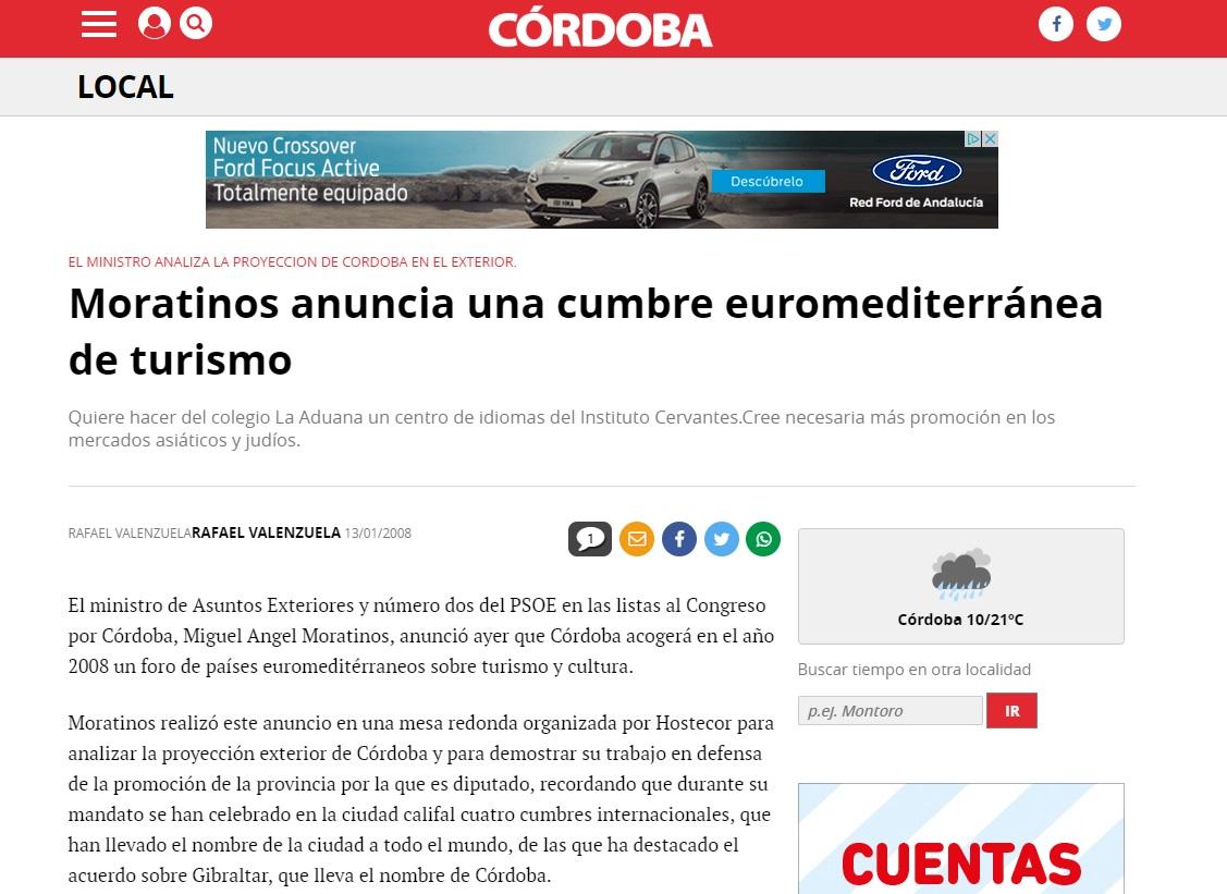 Moratinos anuncia una cumbre euromediterránea de turismo